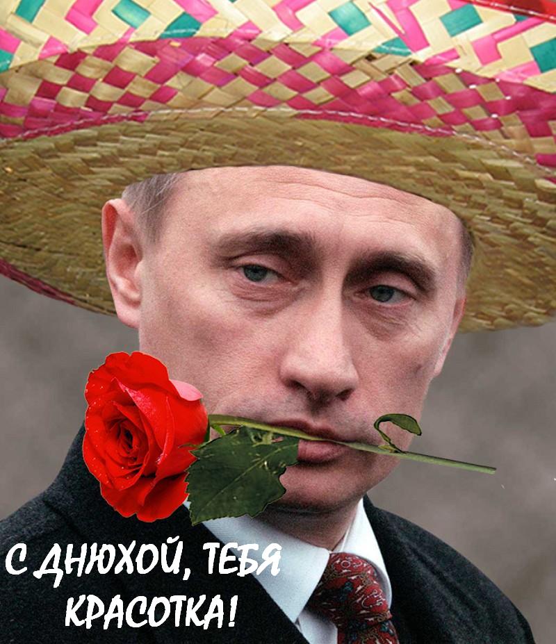 """""""С Днюхой, красотка!"""" Путин с розой поздравляет с Днём Рождения"""